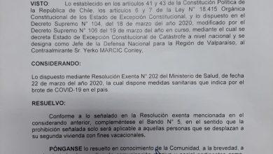 Photo of Armada de Chile informa sobre prohibición en segunda vivienda con fines vacacionales