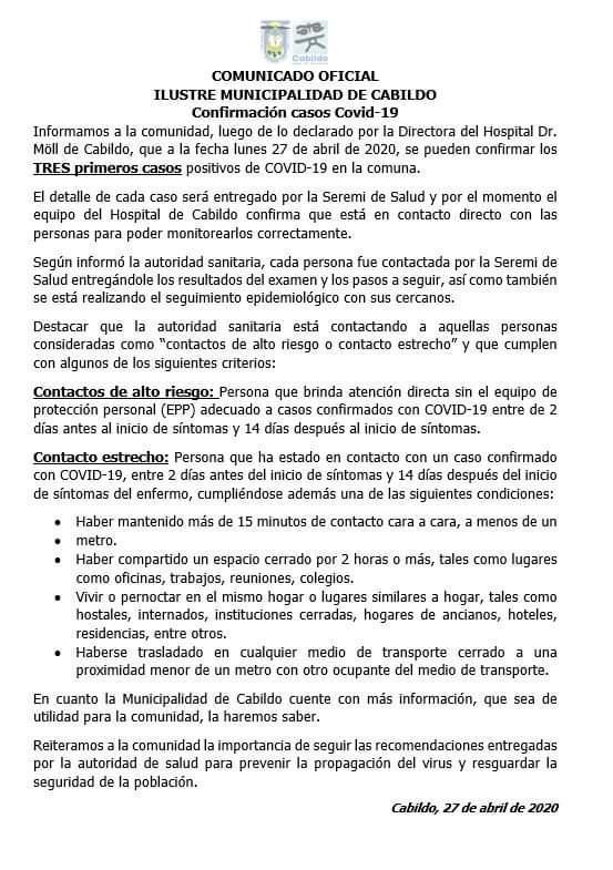Comunicado Cabildo Coronavirus Covid-19