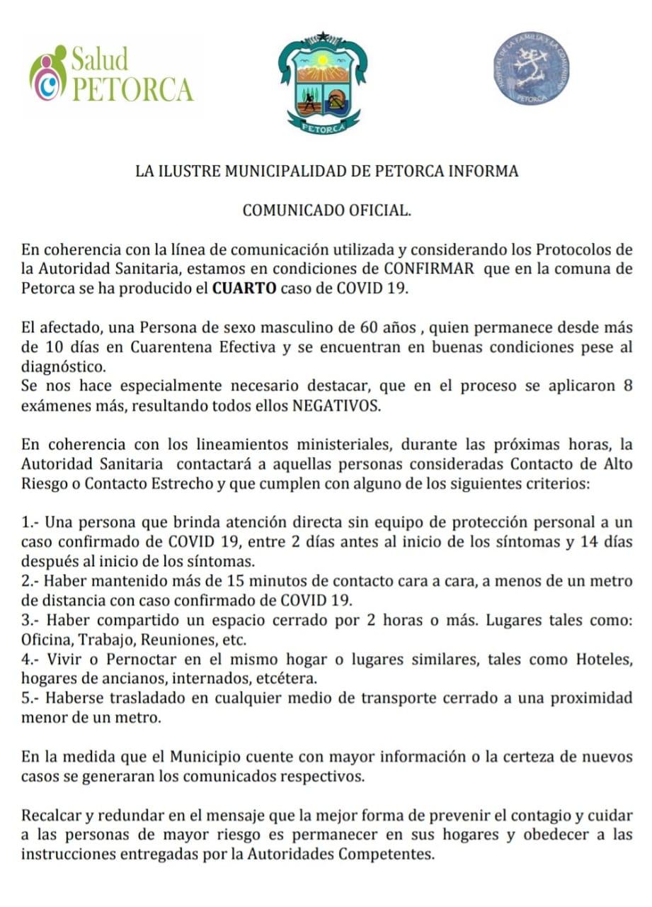 Covid Petorca 4 caso