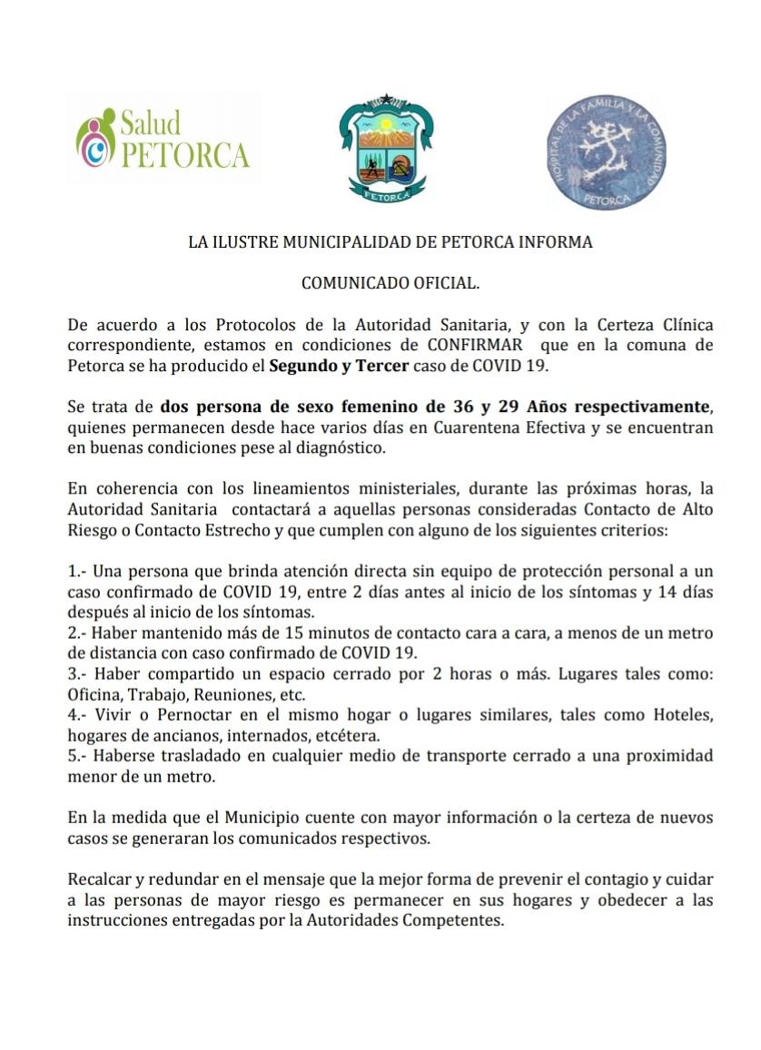 Comunicado Municipalidad Petorca